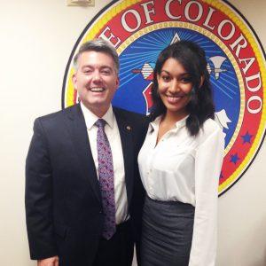 Janessa Lopez with her homestate of Colorado's U.S. Senator Cory Gardner