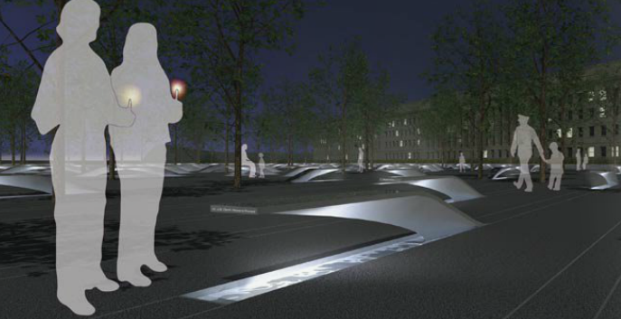 Nighttime depiction of the Pentagon Memorial. The Memorial will feature 184 cantilevered benches, each to be lit at night, and each inscribed with the name of a victim who lost his or her life on September 11, 2001.