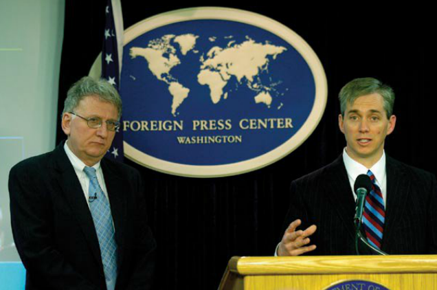 U.S. Dept. of Energy Deputy Secretary Clay Sell (right) discusses the Global Nuclear Energy Partnership at the Foreign Press Center in Washington DC, with Robert Joseph, U.S. Under Secretary of State for Arms Control and International Security.