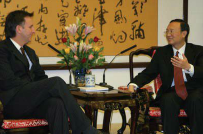 Governor Pawlenty meets with Chinese Vice Minister of Foreign Affairs Yang Jiechi duing a trade mission to China in November 2005